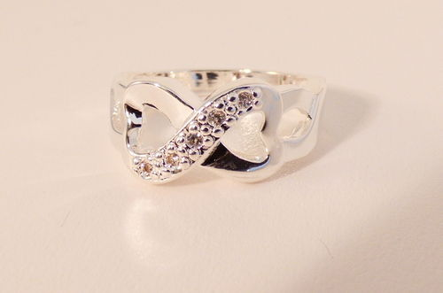 Ring Double Hearts Zirkonia